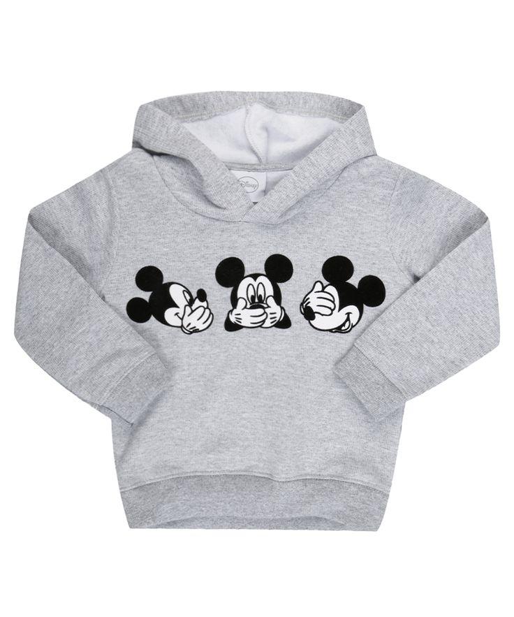 Blusão em Moletom Mickey Cinza Mescla - cea