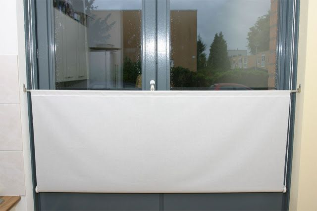 IKEA Hackers: Upside down roller blinds use sheers -mount at bottom of window sill in upstairs windows (with pointed peak)