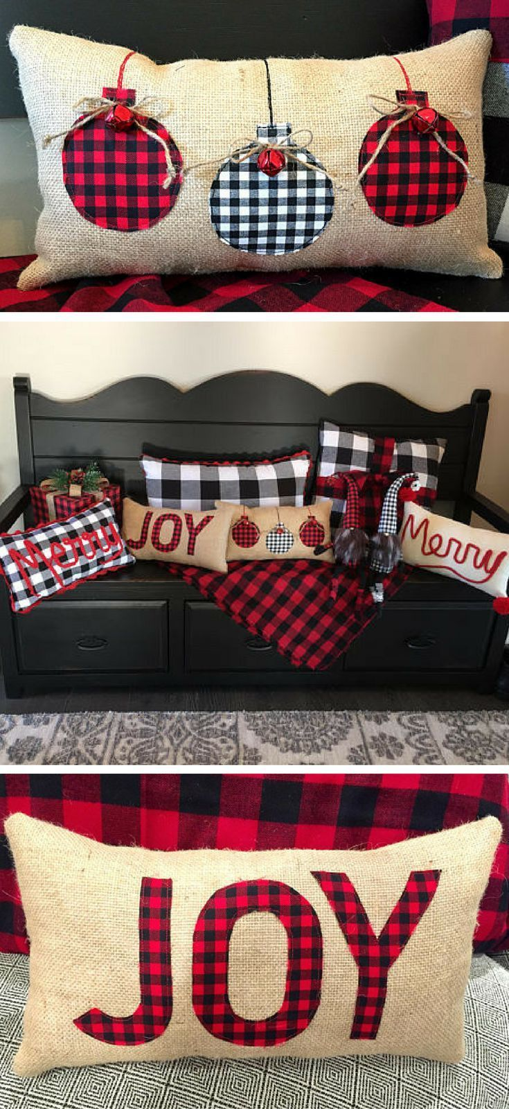 Burlap Christmas Pillows, Buffalo Plaid Christmas Pillow, Red Buffalo Check Christmas, Black white buffalo check Farmhouse Christmas decor, Christmas Pillow, Rustic Christmas decor #ad