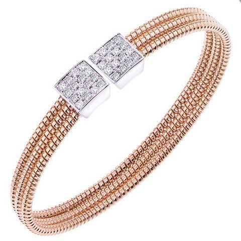 Ben Garelick 0.65 Carat Diamond Rose Gold Bangle Cuff 3 Row Bracelet · B8254/PW · Ben Garelick Jewelers