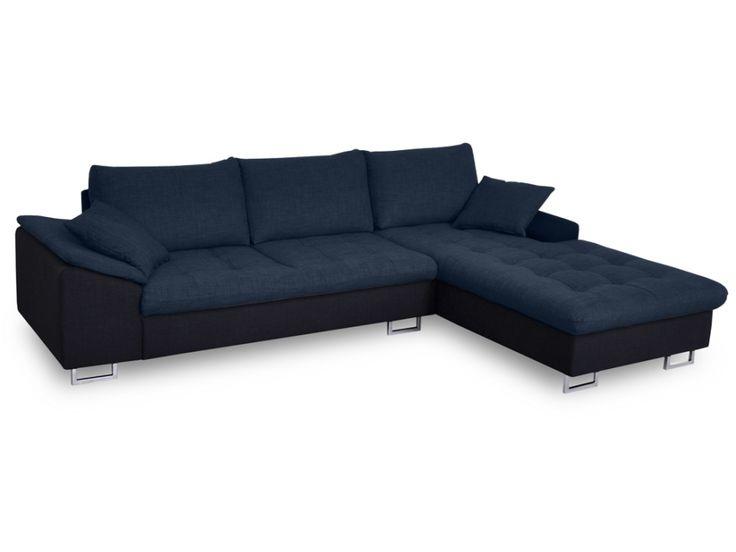 Canapé d'angle tissu et PU ALLEGRI - Bicolore noir et bleu - Angle droit