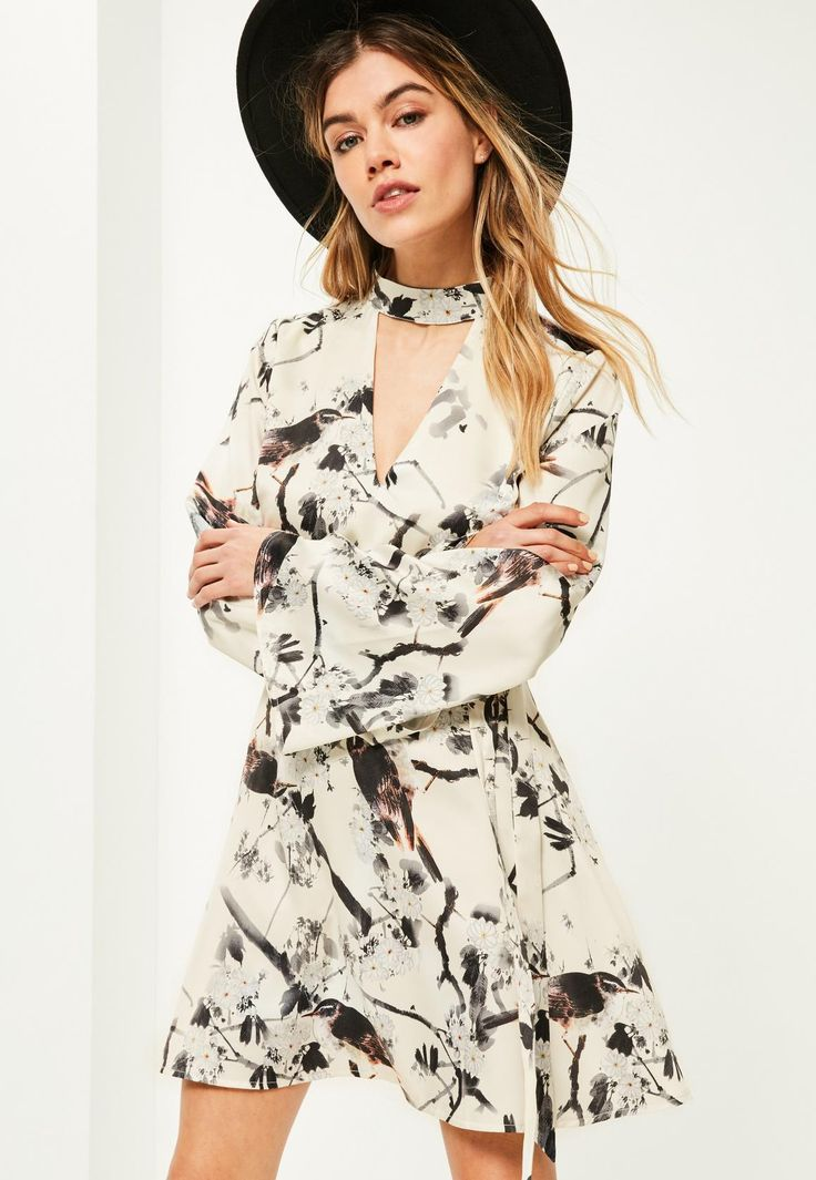 Cream Bird Print Choker Neck Belted Dress - Missguided