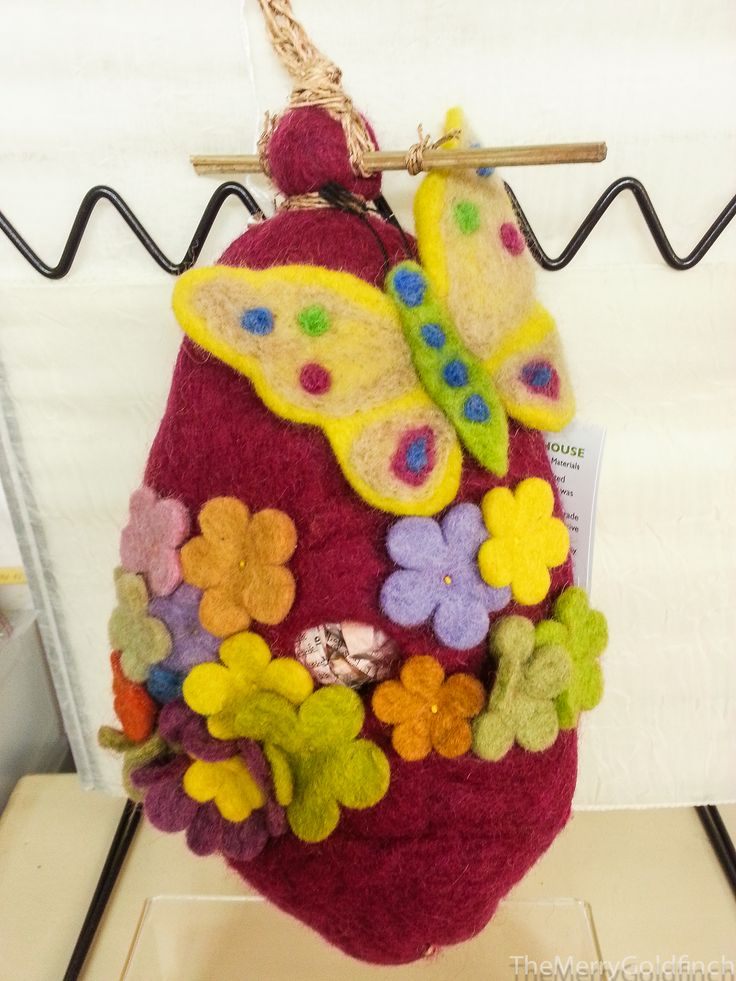 Wildwoolies- Felt birdhouse- #Yarddecorations #Birdhouse