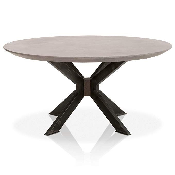 Concrete Top Round Dining Table With Distressed Black Metal Legs