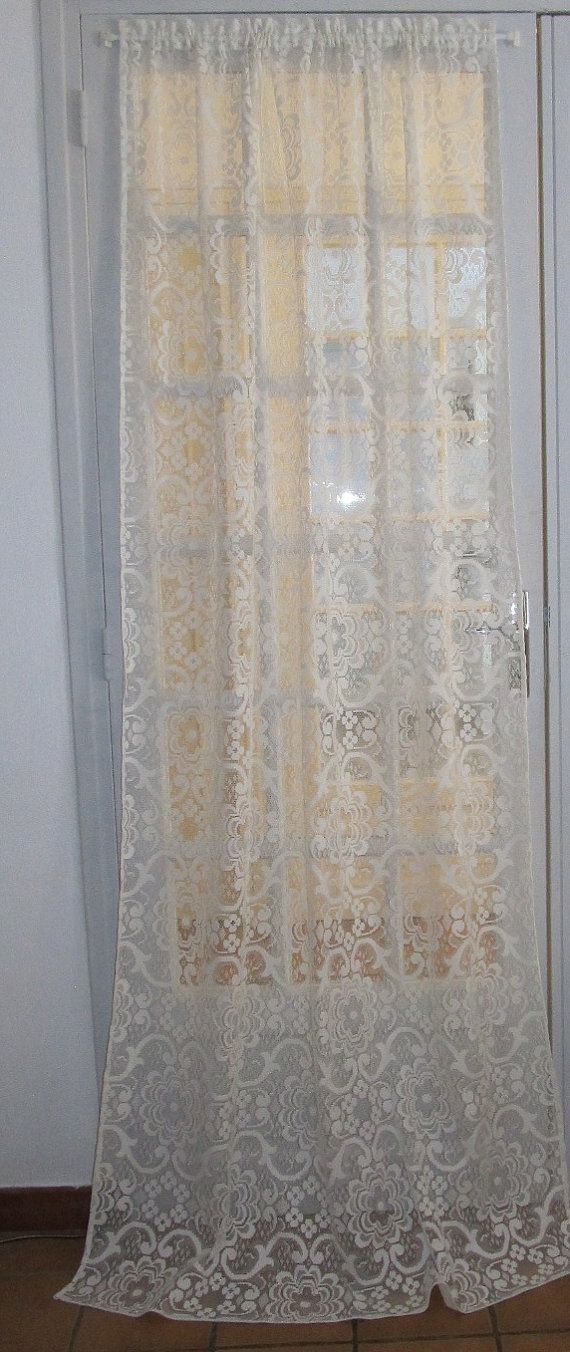 Lace Curtain French Lace White Door Curtain by HatchedinFrance