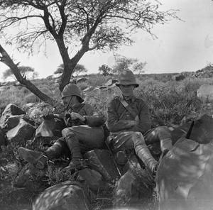 THE SECOND BOER WAR, 1899-1902 Two soldiers of the Lothian and Border Horse Yeomanry resting in the shadow.