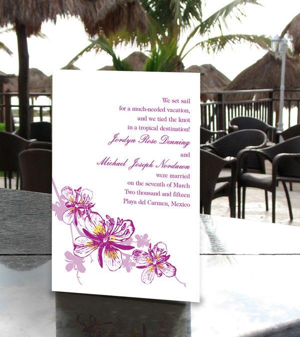 Invitation for reception after destination wedding proper wedding