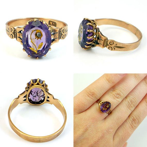 weird little victorian ring with carved-inlaid amethyst