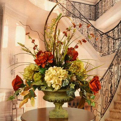 floral home decor peony and hydrangea silk flower arrangement with feathers - Silk Arrangements For Home Decor