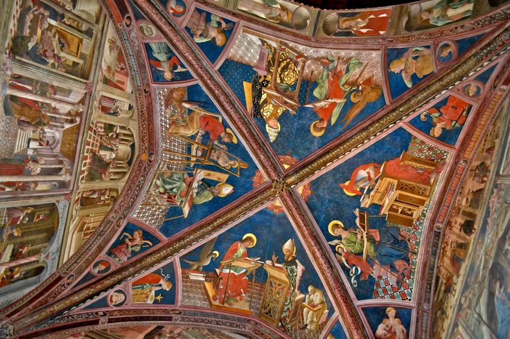 """ATRI, the ceiling - Atri, the Cathedral.  Inside, in the vaulted space, the absolute protagonist is the famous cycle of frescoes by Andrea Delitio, a masterpiece of the Abruzzo fifteenth century. The cycle of Atri with stories of Christ and the Virgin, the Holy Evangelists and Doctors of the Church occupies the walls and the ceiling of the """"Choir of Canons"""".  Atri, la Cattedrale  All'interno nello spazio voltato è protagonista assoluto il celebre ciclo di affreschi di Andrea Delitio, c..."""