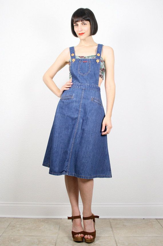 Vintage Overalls Dress Open Back Overall Jean Jumper Midi Dress Hippie Dress Jumper Dress ...