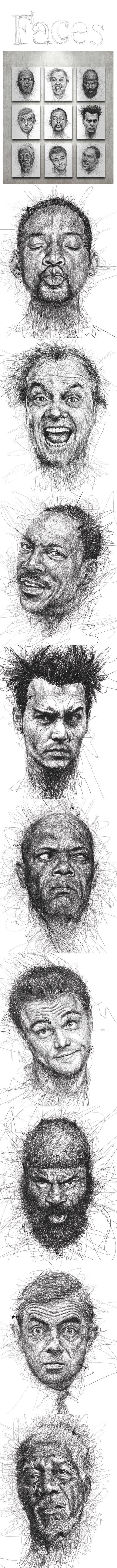 Faces by Vince Low - what a cool way to draw with pen. ive done a similar idea…