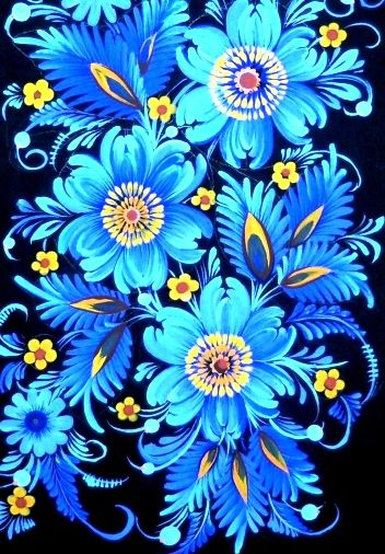 Love is BLUE Petrykivka Ukrainian Folk art modern #Slavonik#Dekor#EFolk   ornament, decor, garniture, tracery, pattern, design, tracery, weave,