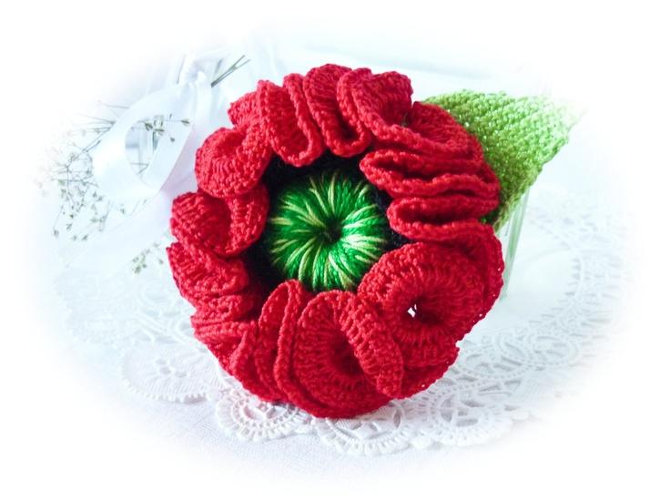 Red Poppy  -  Crochet Brooch