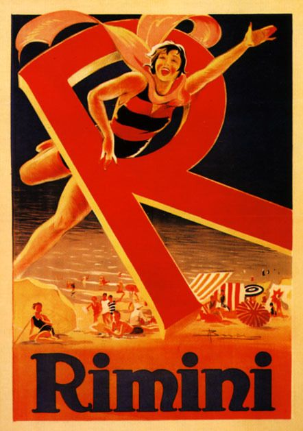 Rimini Lady Swim Adriatic Sea Beach ~ Italy Vintage Poster 1930's