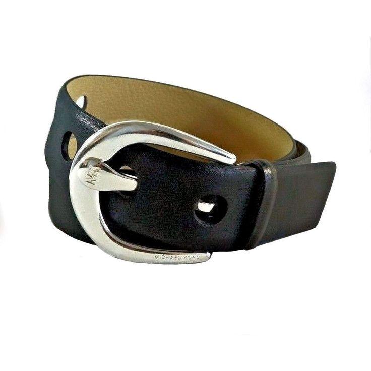 michael kors genuine leather belt 551632 black silver