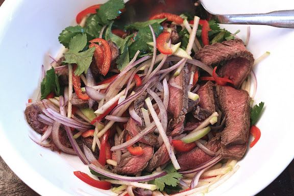 Grilled Beef Salad Thai-Style with Green Apples