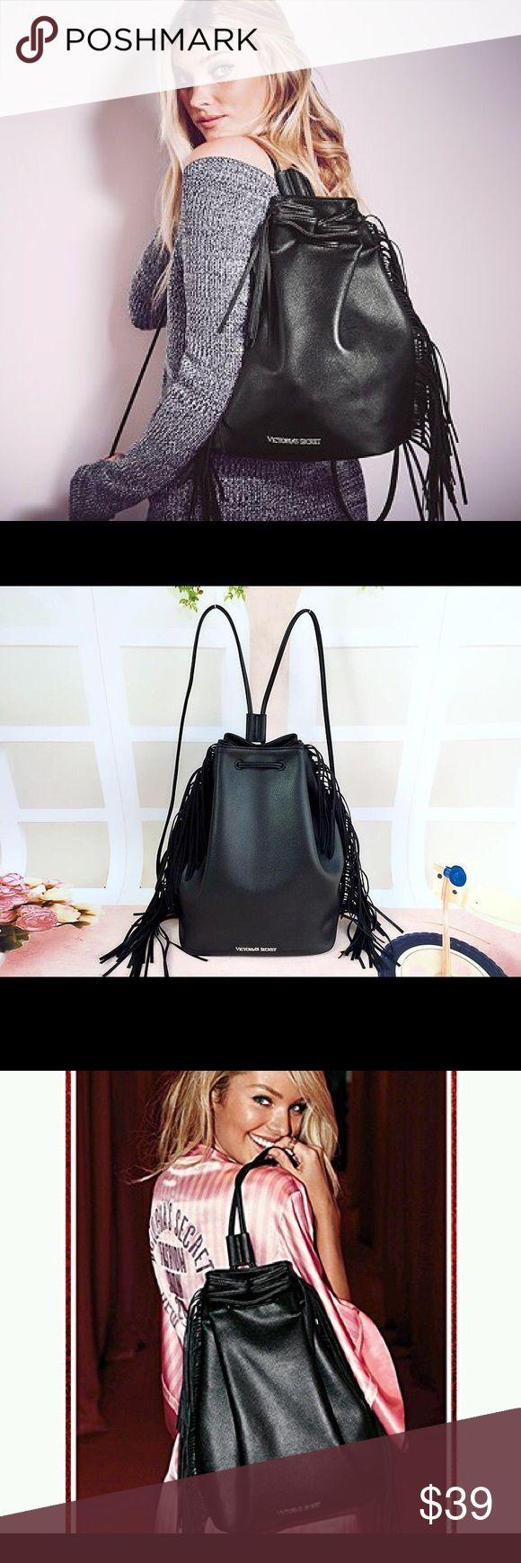 VS Fashion Show Black Fringe Backpack NWT VS Fashion Show Black Fringe Backpack NWT so cute!! Victoria's Secret Bags