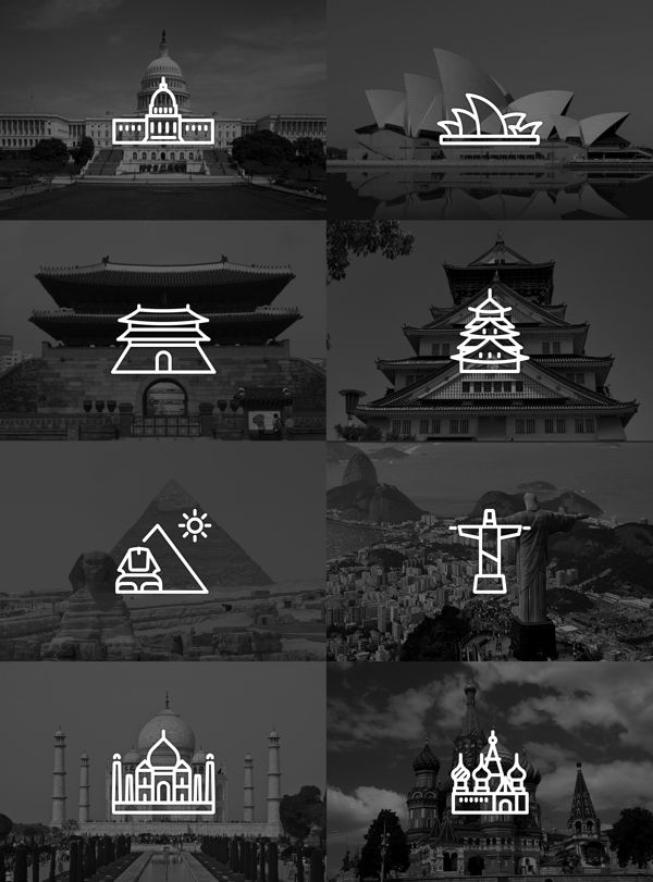 Touristic icon design by Yoon J , via Behance
