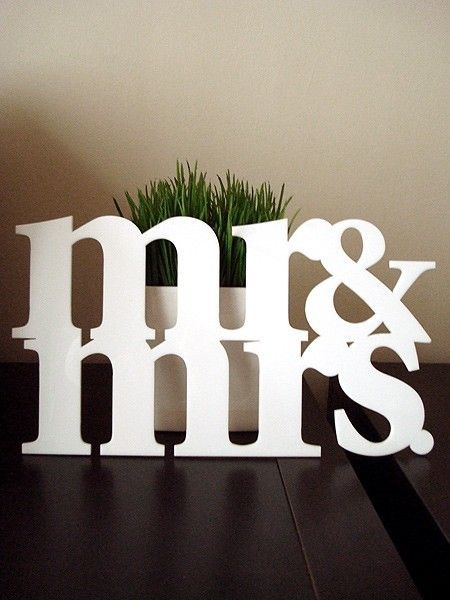 mr mrs acrylic decor