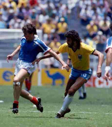 France 1 Brazil 1 (4-3 p) in 1986 in Guadalajara. Luis Fernandez and Socrates in action in extra time at the World Cup Quarter Finals.