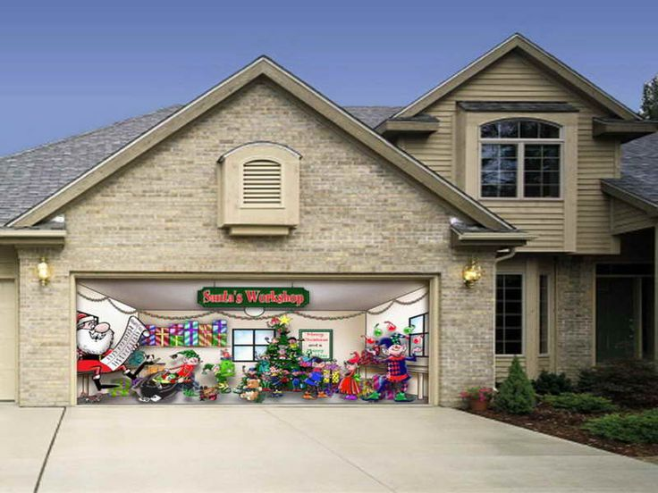 12 best christmas garage door decor images on pinterest for Christmas garage door mural