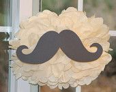 Mustache pom pom kit moustache  baby shower first birthday party decoration