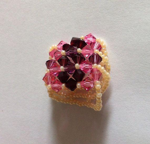 Pink-burgundy swarovski cystal beads ringpearl by bonmokishop