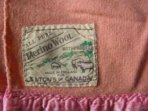 Vintage Eaton's blanket label. Love the sheep and trees! Via inkfrog.