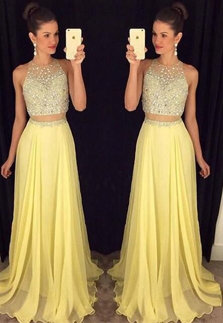 2 pieces Long Prom Dresses, Yellow Prom Dress, Chiffon Prom Dress, 2016 Prom…