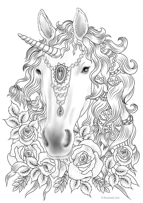 Unicorn Printable Adult Coloring Page From Favoreads Coloring