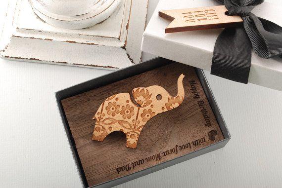 TATOO ELEPHANT  BROOCH  solid Beech wood brooch by MoodForWood