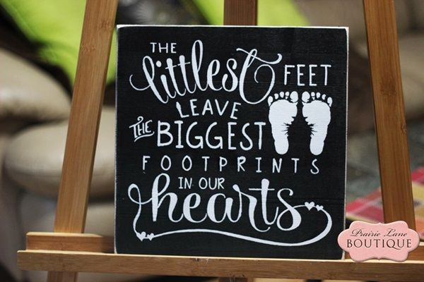 12 x 12 wood sign, the littlest feet leave the biggest Footprints, Baby Girl, Nursery sign-babies & children, baby gift, baby decor, nursery decor, littlest feet, footprints, grandparents gift, parents gift, black and white, new baby, new mom