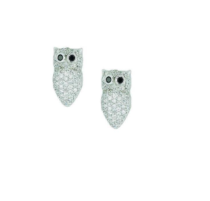 Orecchini a forma di gufo firmati da Roberto Giannotti in argento e zirconi bianchi   #portafortuna #gufi #gufetti #orecchini #giannotti