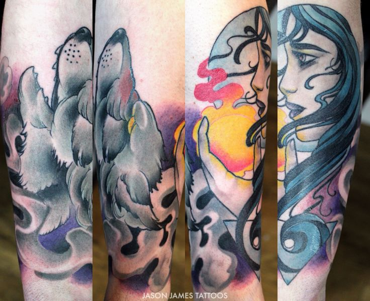 Neo traditional wolf and moon women tattoo by jason james for Neo japanese tattoo