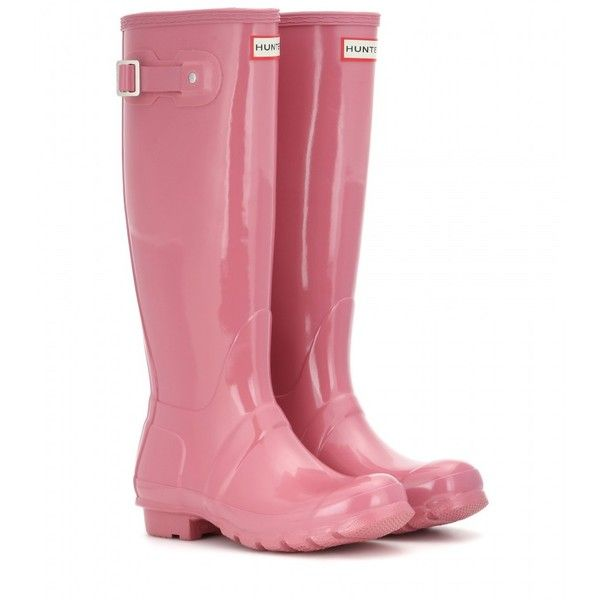 Hunter Original Tall Wellington Boots (£73) ❤ liked on Polyvore featuring shoes, boots, botas, pink, pink knee high boots, tall boots, pink rubber boots, wellington boots and rubber boots