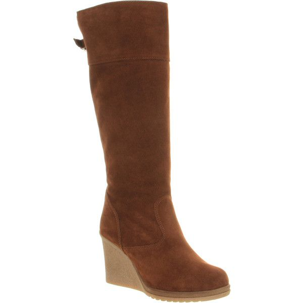 Office Antarctic ($42) ❤ liked on Polyvore featuring shoes, boots, knee boots, tan suede, women, faux suede boots, faux suede knee high boots, tan wedge boots and pull on boots