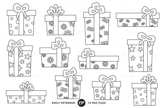 20+ Black And White Present Clipart