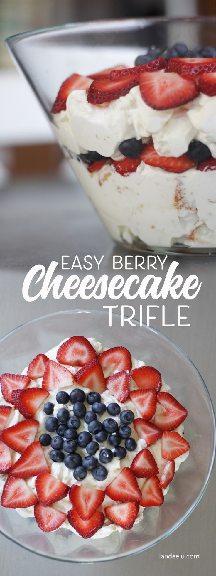 Throw together this delicious trifle recipe! Tastes like a light cheesecake. Top it with whatever you'd like!