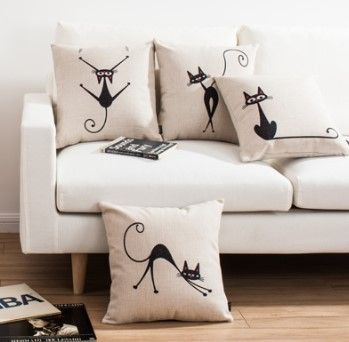 Free shipping Elf art cute Decorative Pillow Covers cartoon cat Sofa Pillow simple lines Sofa Cover custom made | Ali Style