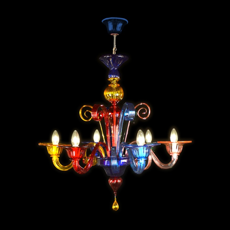 The most sold in France! Multicolor #Murano #Chandeliers worked exclusively by hand with the ancient art of #Murano #Glass masters from #Venice. Price 6 lights € 522,50 EURO - 727 $. Visit our website www.sognidicristallo.it to see or buy online our creations!
