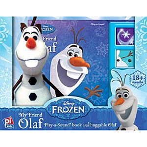 Olaf Play-a-Sound book and Huggable Olaf | Disney Store Winter or summer, Olaf the snowman is the best friend ever. Read all about <i>Frozen</i>'s lovable snowman while they give the accompanying cuddly Olaf plush a warm hug! The story ends with a friendship song to sing.