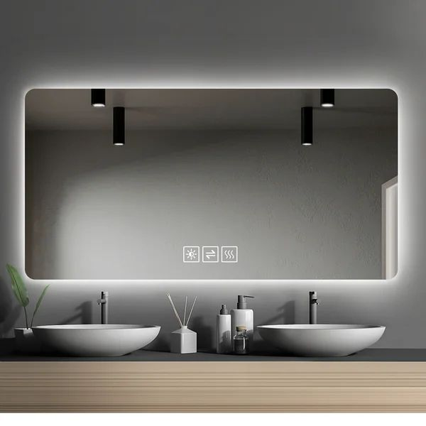 Chardip Frameless Lighted Bathroom, Vanity Mirror Bathroom