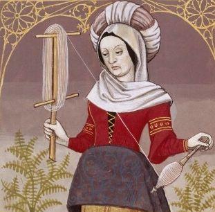 LV-Veturia filant. Elle file à l'aide d'une quenouille et d'un dévidoir. Matrone romaine, mère du héros semi-légendaire Coriolan (VETURIA, a Roman matron) -- Giovanni Boccaccio (1313-1375), Le Livre des cleres et nobles femmes, v. 1488-1496, Cognac (France), traducteur anonyme. -- Illustrations painted by Robinet Testard -- BnF Français 599 fol. 48v -- See also at: https://commons.wikimedia.org/wiki/File:V%C3%A9turie_BnF_Fran%C3%A7ais_599_fol._48v.jpg