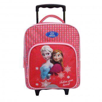 Sac à dos à roulettes rose Reine des neiges 35 cm: Sac à dos à roulettes Reine des neiges Maternelle Votre petite princesse scolarisée en…