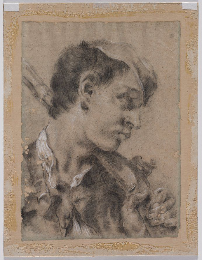 Head of a Young Man in Profile with a Gun over His Shoulder, c. 1730/40s, Giovanni Battista Piazzetta (Italian, 1682-1754), black chalk with stumping, heightened with white chalk, Sheet: 37.70 x 27.10 cm (14 13/16 x 10 5/8 inches); Secondary Support: 43.40 x 33.30 cm (17 1/16 x 13 1/16 inches).  | Cleveland Museum of Art