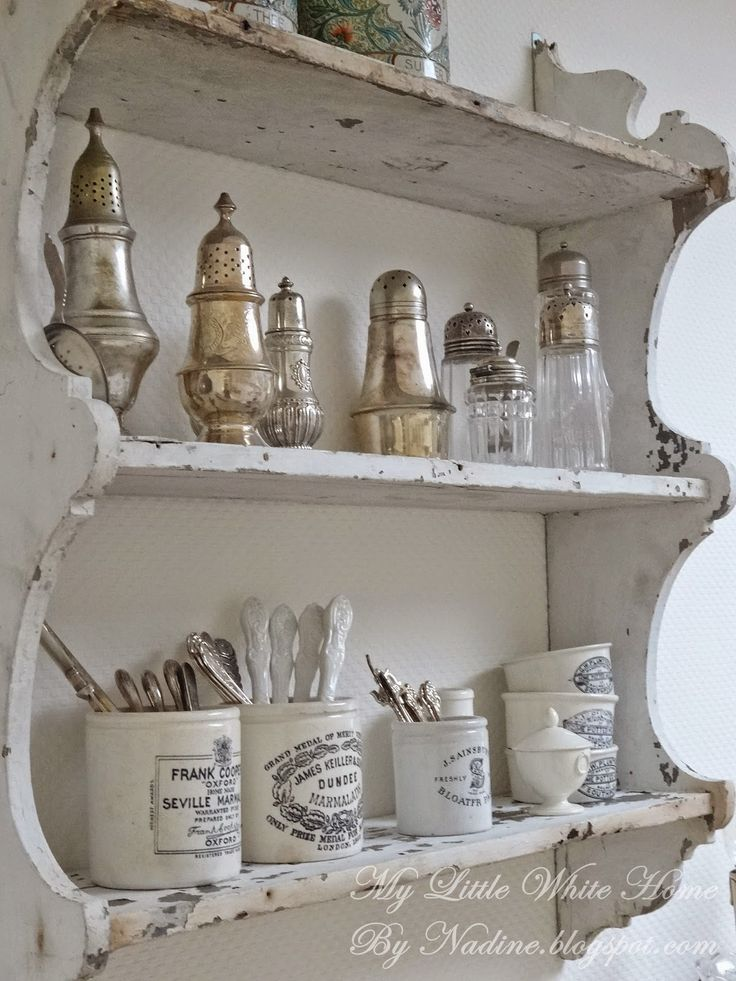 My collection of shakers and English pots.   My little white home by Nadine: Keukenhoek ~ Kitchen corner