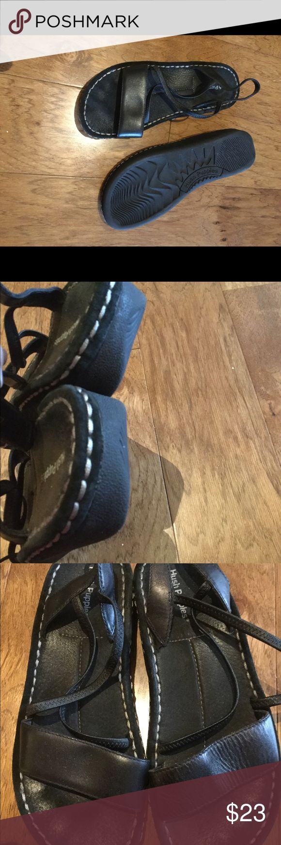 Hush puppies low platform sandal mint 9 leather Like new condition super comfy Hush Puppies Shoes Sandals