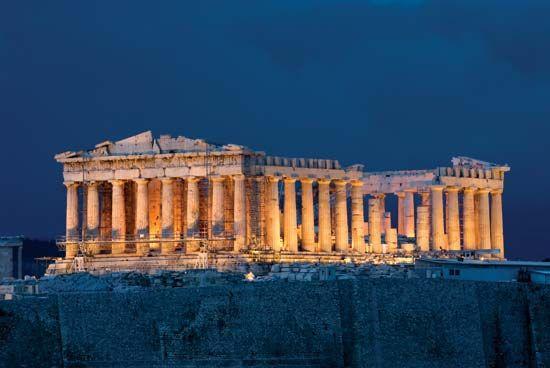 Parthenon: night view of the Parthenon, Athens [Credit: © iStockphoto/Thinkstock]