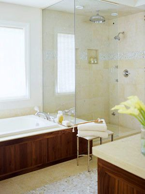 Open Shower With Separate Tub Small Bathroom Solutions